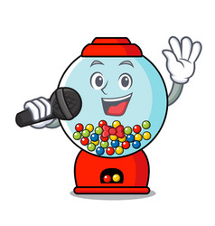 Singing gumball machine mascot cartoon vector