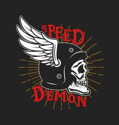 Speed demon skull in winged helmet design element vector