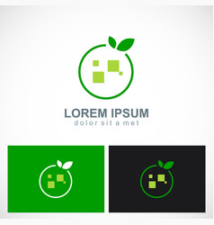 square round fruit organic abstract logo vector image