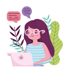 Stay at home young woman with laptop chatting vector