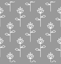 Stylized line flower gray seamless pattern vector
