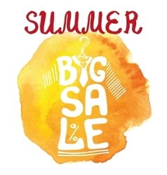Summer big Sale letteringTee Shirtwatercolor vector image
