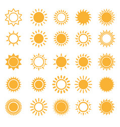 sun icons isolated set on white vector image