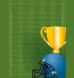Superbowl sport poster with trophy and helmet vector
