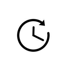 time icon in black clock symbol with arrow vector image