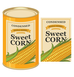 Tin can label for canned sweet corn with the cob vector
