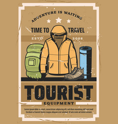 Tourist travel outfit and hiking sport equipment vector