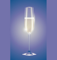 transparent champagne glass with sparkling white vector image