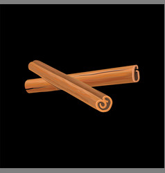 Two cinnamon sticks fragrant spice vector