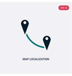 Two color map localization icon from maps and vector