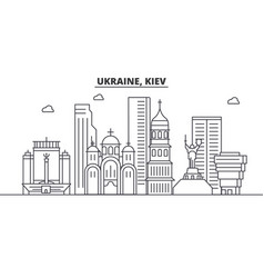 Ukraine kiev architecture line skyline vector
