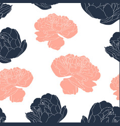 vintage tulips seamless pattern in trendy colors vector image