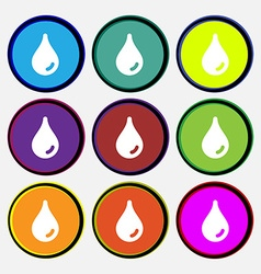 Water drop icon sign Nine multi-colored round vector