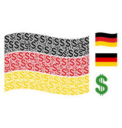 waving germany flag collage of dollar icons vector image
