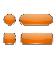 Web buttons orange shiny icons with chrome frame vector