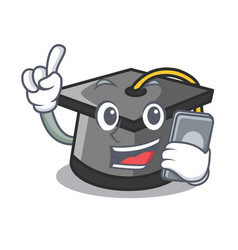 with phone graduation hat character cartoon vector image