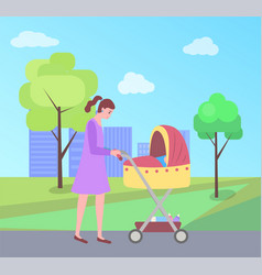 Woman walking with child sleeping in perambulator vector