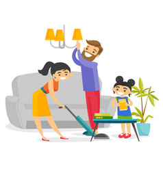 Young happy caucasian white family cleaning house vector