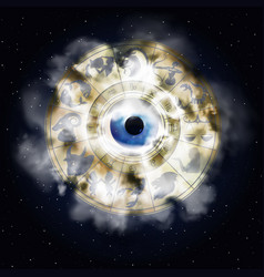 zodiac signs in space with the eye vector image