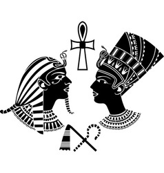 Ancient egypt king and qeen vector