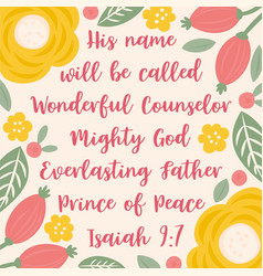 bible quote from isaiah about jesus for christmas vector image