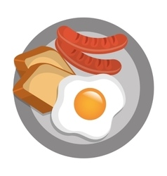 Delicious breakfast with egg sausagesand bread vector