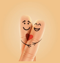 finger couple in love with painted smiley and vector image vector image