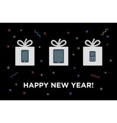 Happy new gifts christmas card with gadget in vector