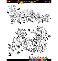 Running fruits set cartoon coloring page vector