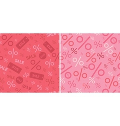 Sale and percentage signs two seamless pattern vector image