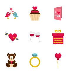 valentine day and wedding icons set flat style vector image