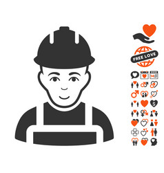 builder icon with love bonus vector image