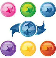 colored buttons with arrows vector image vector image