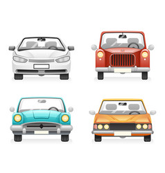 front view retro modern car icons set isolated vector image vector image