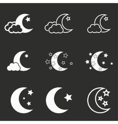 Moon star icon set vector image