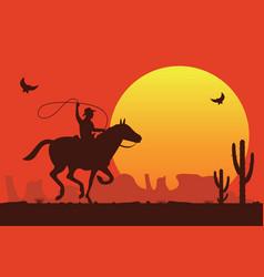 Rodeo cowboy riding a wild bull vector