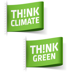 Think Climate and Think Green labels vector image vector image