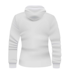 white hoodie back view mockup realistic style vector image