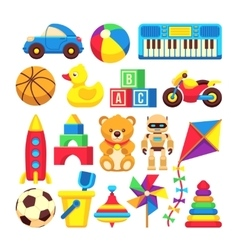Cartoon children toys icons isolated on vector image