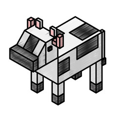 Cow isometric isolated icon vector