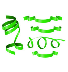 green ribbons banner scroll vector image