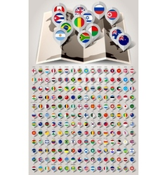 Map world 192 markers with flags vector image vector image