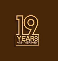 19 years anniversary design line style vector