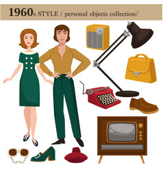 1960 fashion style man and woman personal objects vector