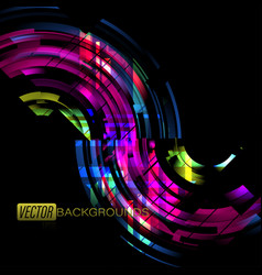 Abstract curved colors in dark scene vector