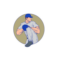 American baseball pitcher throw ball circle vector