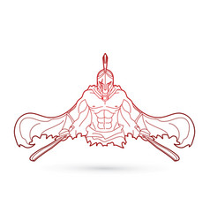 Angry spartan warrior with swords outline vector
