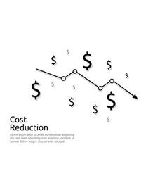 arrow decrease icon dollar money fall down symbol vector image