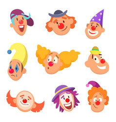 Avatar set of funny clowns with different emotions vector