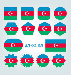 azerbaijan flag collection figure icons set vector image